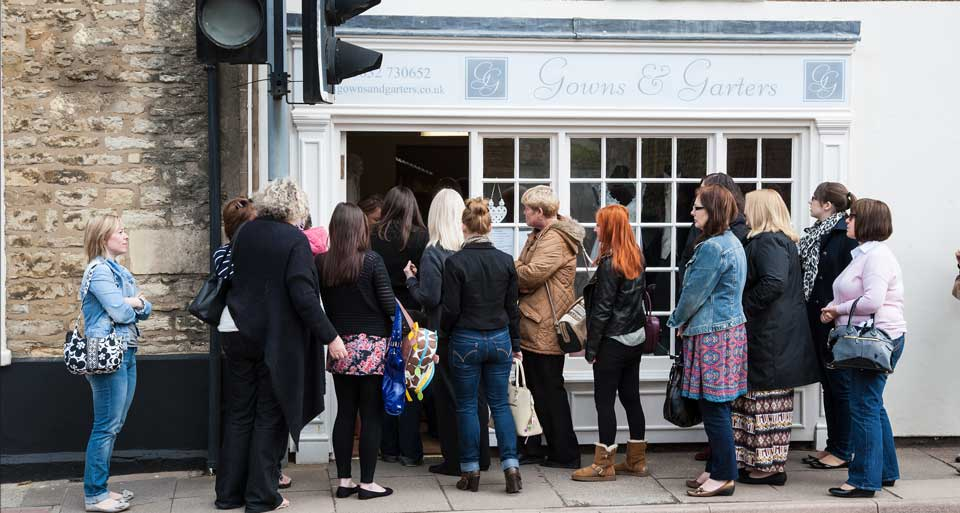 A queue outside Gowns & Garters for one of their events.